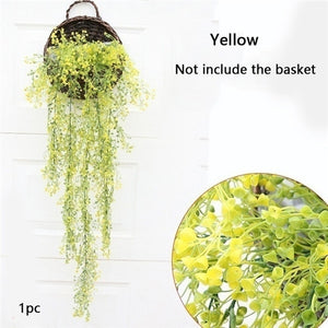 1pc 115cm Wall Mounted Osier Rattans Plant Plastic Wicke Bracketplant Vine Fake Greenery for Home Artificial Decorative Flowers