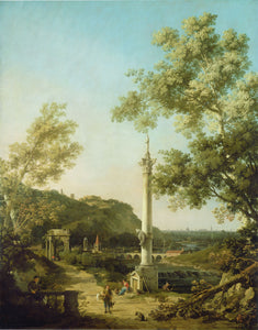 Canaletto - English Landscape Capriccio with a Column