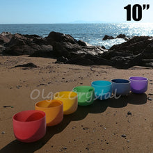 10 Inch Set of 7 Pcs Chakra Quartz Crystal Singing Bowl Different Notes