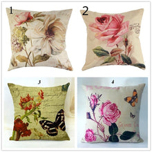 Fashion Vintage Rose Flowers Printed Cotton Linen Pillowcase Cushion Cover Home Decorative Pillow cover