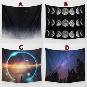 150*130cm Starry Night Print Tapestry Wall Hanging Beach Towel Bedspread Yoga Mat Wall Decor