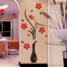 Fashion DIY Vase Flower Tree Crystal Arcylic 3D Wall Stickers Decal Home Decor
