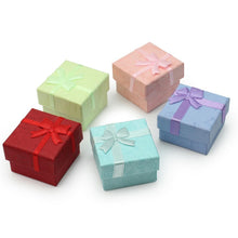 6Pcs Cute Ring Earring Jewelery Case Square Christmas Gifts Package Boxes Paper Cardboard