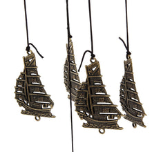 12 Tubes Bells Retro Copper Fan and Sail Boat Wind Chimes Yard&Garden Decor