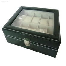 PU Leather Watch Case Jewelry Collection Storage Organizer Box 10 Grid vud63a
