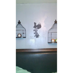 "Alice In Wonderland Wall Decal Quote ""We're All Mad Here"" Vinyl Wall Sticker Home Decor"