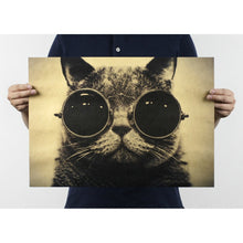 Funny Cat Wearing Glasses Retro Style Kraft Paper Poster Wall Poster Decal