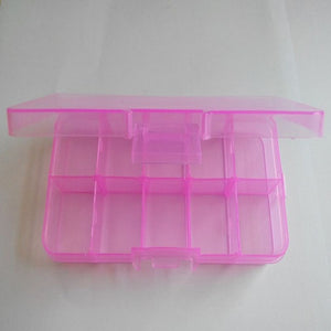 New 7 colors Plastic 10 Slots Pill boxes Craft Organizer Beads Adjustable Jewelry Storage Box Case