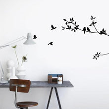 60*24cm Birds Tree Branch Leaves DIY Art Wall Stickers Removable Vinyl Living Room Decal (Color: Black)