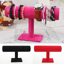 Jewelry Bracelet Necklace Show Stand Holder Organizer Display Velvet T-Bar Rack