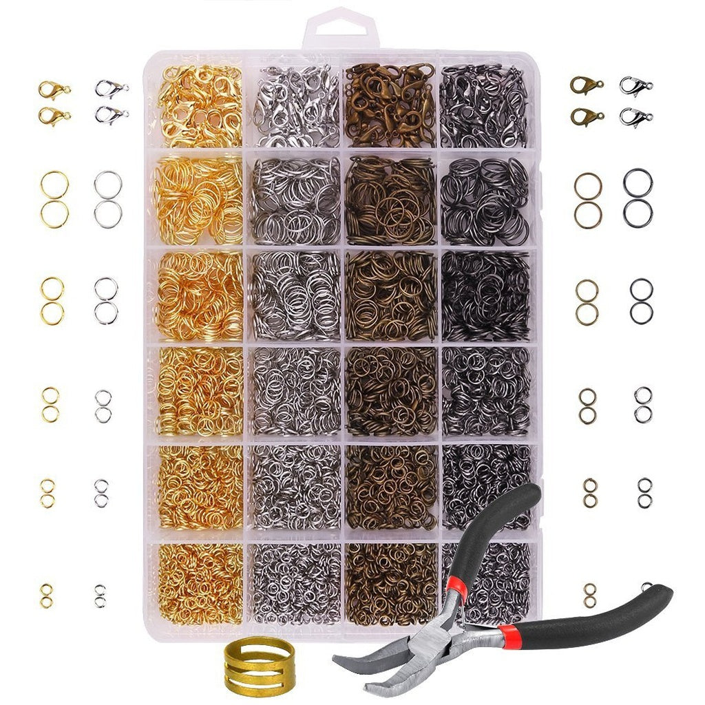 3142 Pieces Jewelry Making Kit with Open Jump Rings, Lobster Clasps, Open Ring, Bent Chain Plier