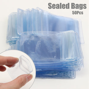 50Pcs Small Jewelry Ziplock Zip Bags Reclosable PVC Plastic Poly Bag Storage Waterproof 10mL