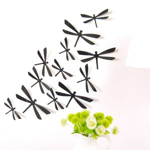 12pcs/pack PVC 3d Decorative Dragonfly Decal Removable Wall Art Sticker for Home Decor and Wedding Party Decoration(4pcs Big+4pc