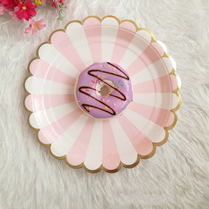 Gold Blocking Pink Striped Paper Tray Paper Cup Party Decorations Tableware Dinner Plates Cups Napkins