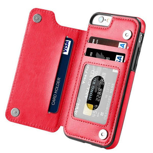 High-grade Business Men Women Magnetic Leather Wallet Case Card Slot Shockproof Flip Cover for IPhone 6/6S/7/ 6/6S/7Plus Samsung