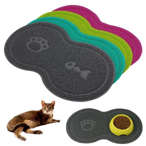 Details about  Cat Bowl Mat Dog Pet Feeding Water Food Dish Tray Wipe Clean Floor PVC Placemat  GAR