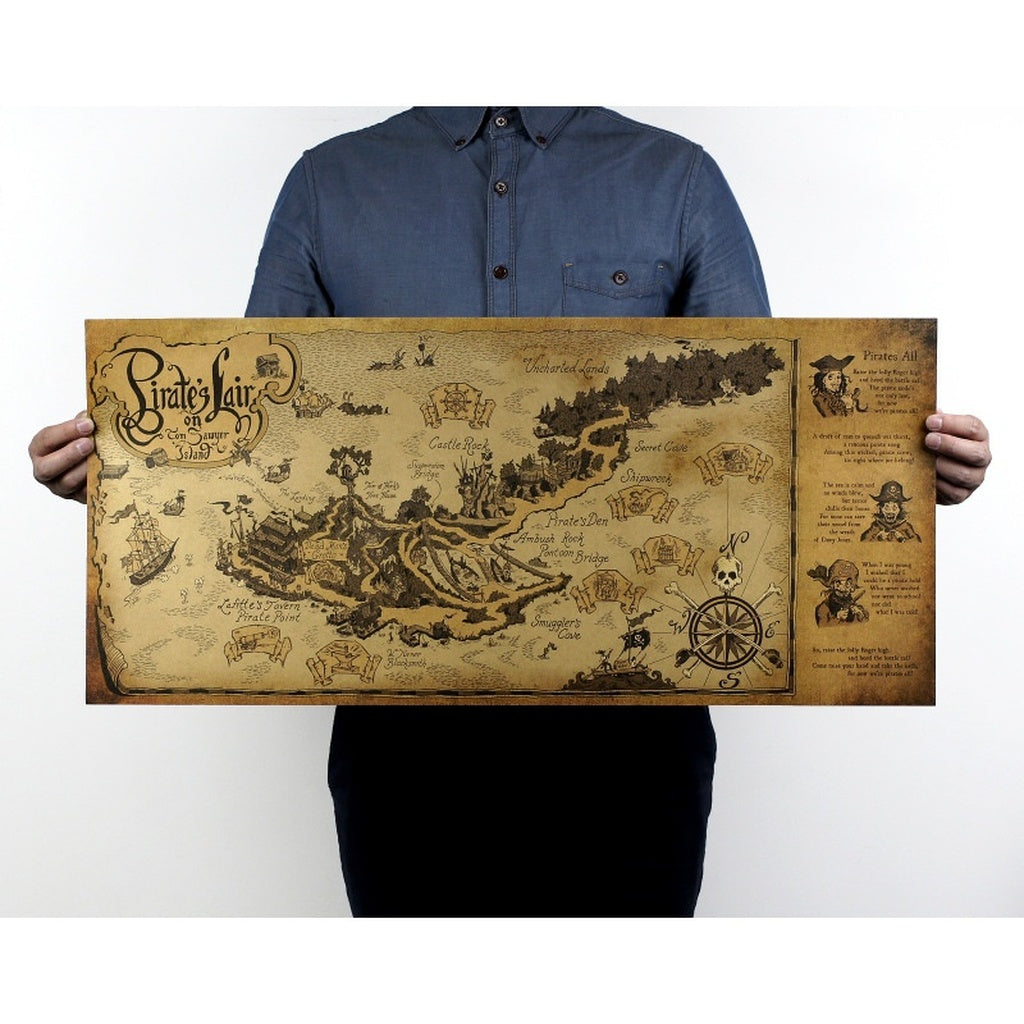 Pirate Nest Map Vintage Kraft Paper Movie Poster Home Decoration Painting Core Mural Wallpaper Picture 72.5x35.5cm