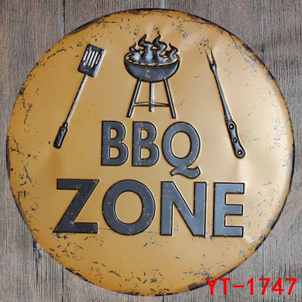 BBQ ZONE Round sign Painting Retro Gift Metal Sign Plaque Wall decor