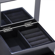 "Yescom 6-3/8"" x 5-1/8"" x 6-1/2"" Jewelry Box Organizer Storage Case Built-in Mirror Ring Earring Necklace White/Black"