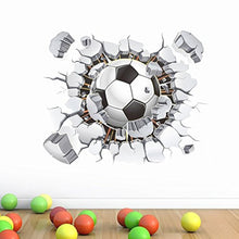 Soccer Ball Football Broken 3D Decorative Peel Vinyl Wall Stickers Wall Decals Removable Decors for Living Room Kids Room Baby N