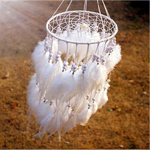 12 color New fashion 19.6inch*5.9inch originality hanging white Feather pearl Dreamcatcher Wind Chimes Indian Style Pendant Drea