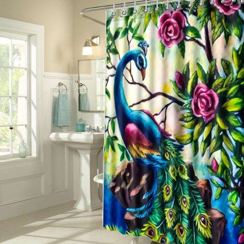 150x180cm 3d Printed Polyester Fabric Peacock Shower Curtains Waterproof Washable Bath Curtains 12 C Type Hooks