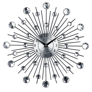 33CM Metal Art Clock Luxury Acrylic Diamond Large Modern Wall Clock 3D