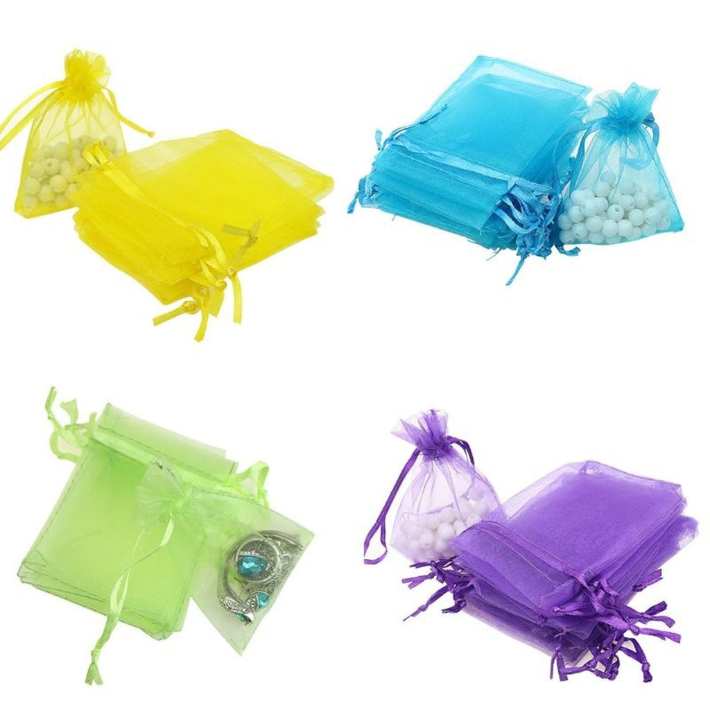 100 pcs Wedding Decoration Organza Bag Candy Jewelry Packaging Goodie Gifts Pouch