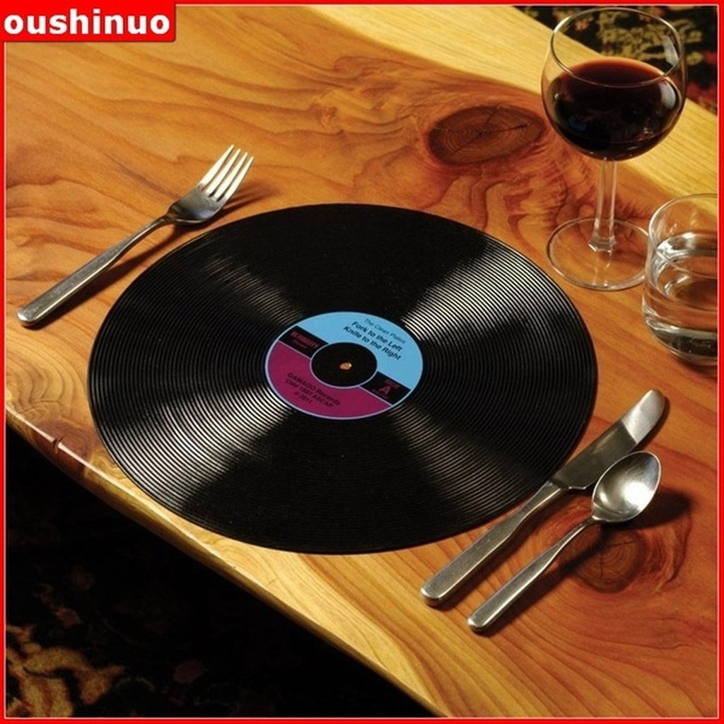 1Pcs/Package Vintage Vinyl Record Placemats Round Place Mats for Tables Dinning Placemats Designed Place Mats (Size: 31cm by 31.