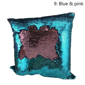 Cotton Double Color Satin Sequins Pillow Covers Mermaid Beads Sofa Cushion Pillow Cases (Size:40*40cm,9 Color to Choose)