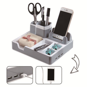 Desk Organizer Pen Holders Desk Stand Charger, 3 USB Ports