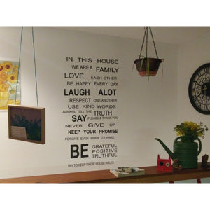 Family Rules Words Removable Vinyl Decal Art Mural Home Decor Quote Wall Sticker
