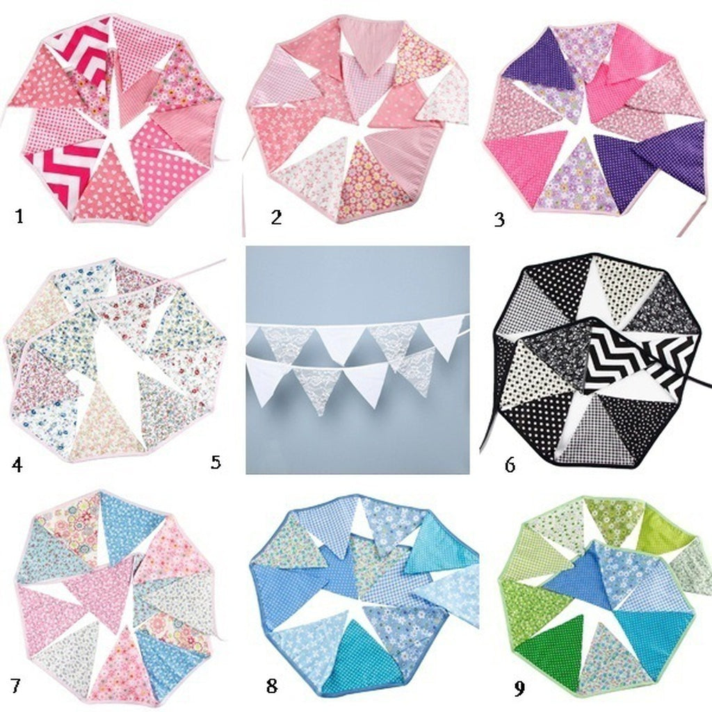 12pcs Wedding/Birthday Party Decoration Lace Cotton Flags Banner Pennant