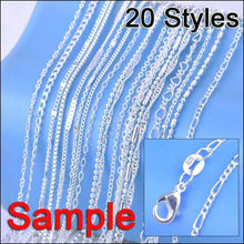 "Jewelry Sample Order 20Pcs Mix 20 Styles 18"" Genuine 925 Sterling Silver Link Necklace Set Chains+Lobster Clasps 925 Tag"