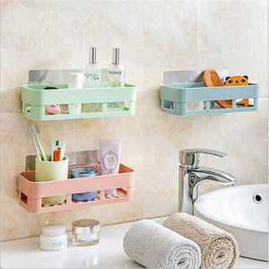 Stick-up Wall Sucker Plastic Organizer Net Box Can`t Let Down Bathroom Shelf with 10 Colors 2 Styles