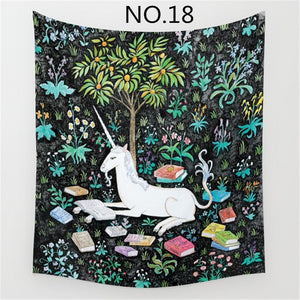 150x130cm Tapestry Home Decorative Polyester Plant Flowers, Lions and Unicorns Pattern Beach Towel Fashion Sofa Wall Decor