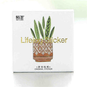 45 Pcs / Set Green Cactus Self-adhesive Label Stickers Decorative Memo Pads Stationery Supplies