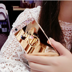 Multifunction Coque For iPhone 8 7 Plus Samsung Galaxy Note 8 S9 S8 Plus Shinny Crystal Diamond Makeup Mirror Back Bear Ring Sta
