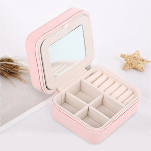 2 Layers Travel Jewellery Rings Earrings Necklace Bracelet Box Organizer Display Storage Case With Mirror