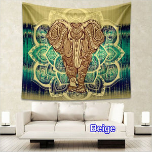 150*130cm/150*200cm Indian Mandala Elephant Tapestry MultiColored Printed Decor