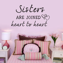 Sisters Heart To Heart Wall Sticker Words Decal Home Art Girls Nursery Decor PVC