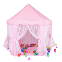 KEPEAK Kids Play Tent Pink Hexagon Princess Castle Playhouse for Girls Children Play Tent With Ocean Ball Indoor and Outdoor