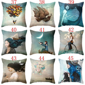 18 Inches Oil Painting Tree Flower Dandelion Pillow Case Linen & Cotton Square Pillow Cover Sofa Car Pillow Home Decoration
