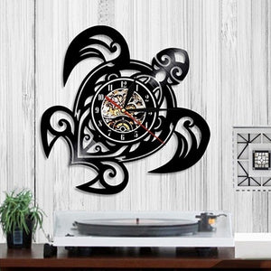 Sea Turtle Shape Classic Wall Clocks Gear Clock Face Decoration Art Clock Vinyl Record Wall Clock