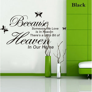ZooYoo Original Because Someone We Love Is In Heaven Vinyl Wall Art Decals Quotes Sayings Words Home Decor ZY8128