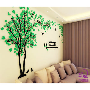 European Style Creative Couple Tree 3D Sticker Acrylic Stereo Wall Stickers Home decor TV Background