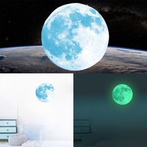 2017 NEW 20/30/40cm Non-toxic Noctilucent Decals Luminous Moon Glow in the Dark Wall Stickers Moonlight Home Decor DIY Room