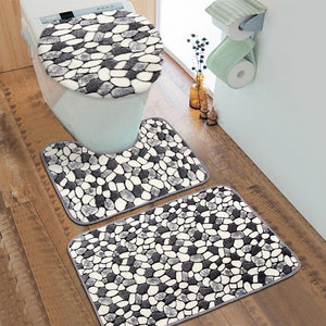 3Pcs/set Bathroom Non-Slip Cobblestone Style Washable Bathroom Carpet Pedestal Rug + Lid Toilet Cover + Bath Mat