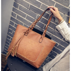 Women Vintage Bags Retro PU Leather Handbags Tassel Casual Shoulder LI