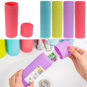 Portable Stripe Toothbrush Holder Toothpaste Towel Case Cover for Traveling Daily Use Outdoor Hiking Camping Toothbrush Cup